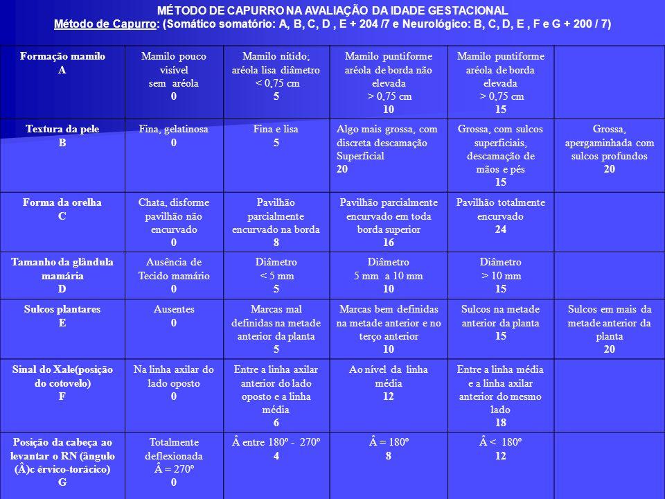 MÉTODO DE CAPURRO NA AVALIAÇÃO DA IDADE GESTACIONAL Método de Capurro: (Somático somatório: A, B, C, D, E + 204 /7 e Neurológico: B, C, D, E, F e G +