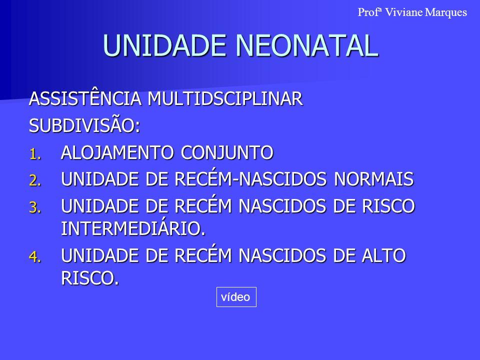 UNIDADE NEONATAL ASSISTÊNCIA MULTIDSCIPLINAR SUBDIVISÃO: 1. ALOJAMENTO CONJUNTO 2. UNIDADE DE RECÉM-NASCIDOS NORMAIS 3. UNIDADE DE RECÉM NASCIDOS DE R
