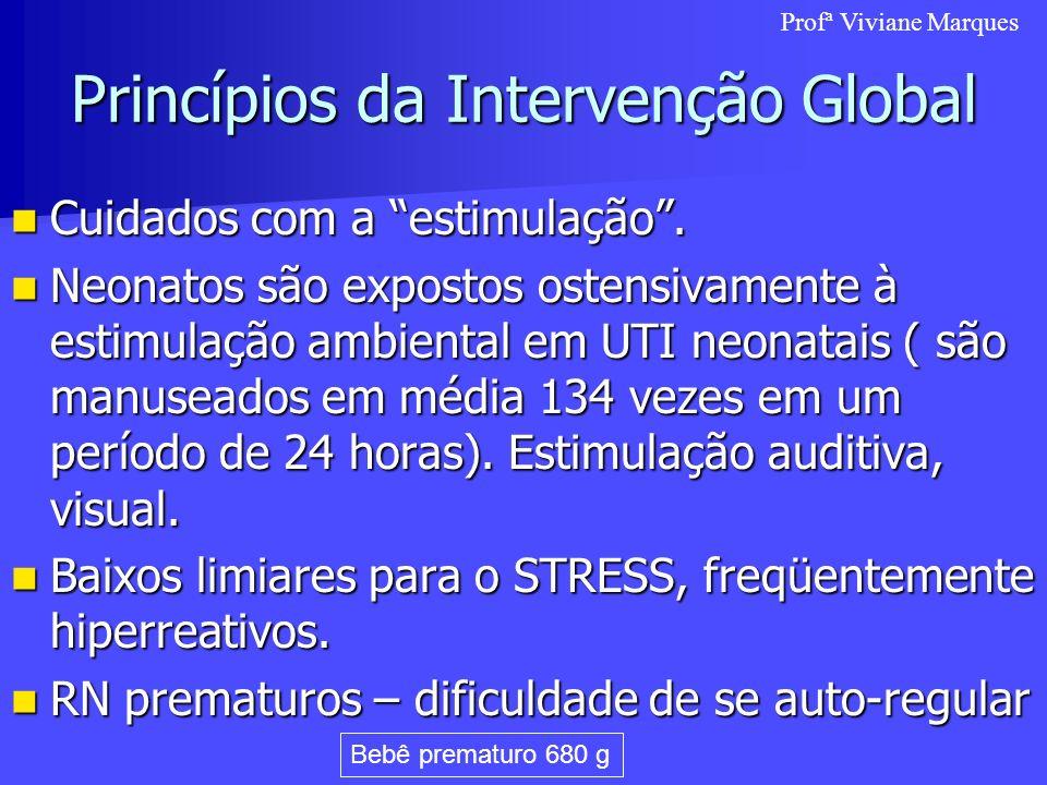 Princípios da Intervenção Global Cuidados com a estimulação. Cuidados com a estimulação. Neonatos são expostos ostensivamente à estimulação ambiental