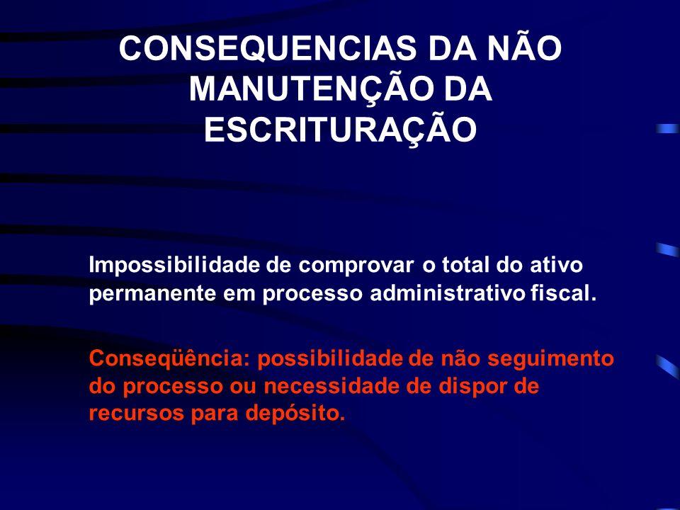 CONSEQUENCIAS DA NÃO MANUTENÇÃO DA ESCRITURAÇÃO Impossibilidade de comprovar o total do ativo permanente em processo administrativo fiscal.