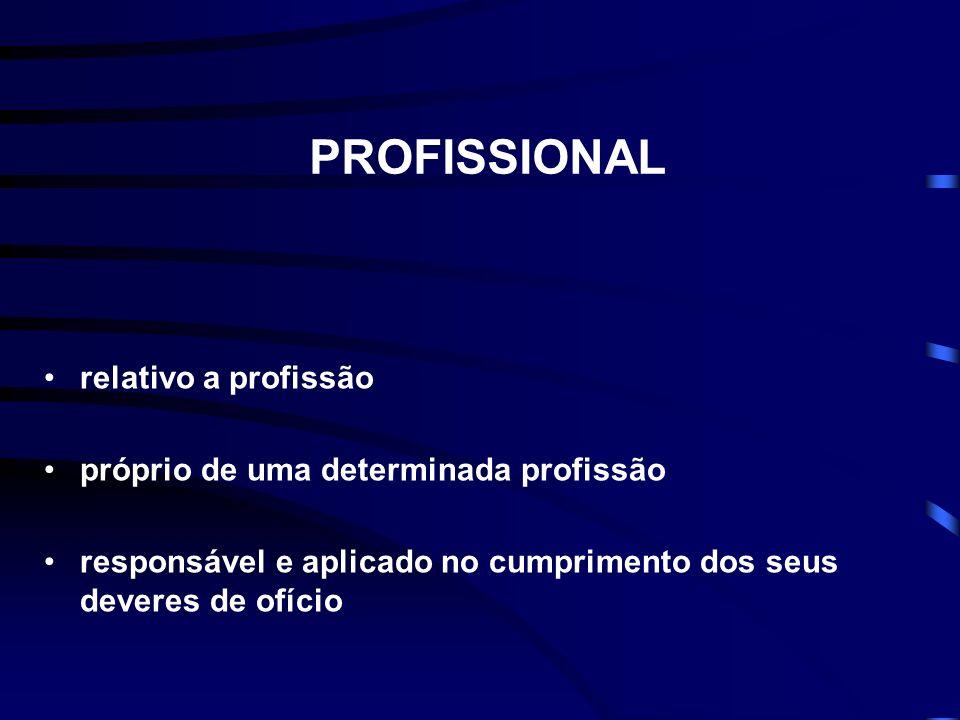 PROFISSIONAL relativo a profissão próprio de uma determinada profissão responsável e aplicado no cumprimento dos seus deveres de ofício