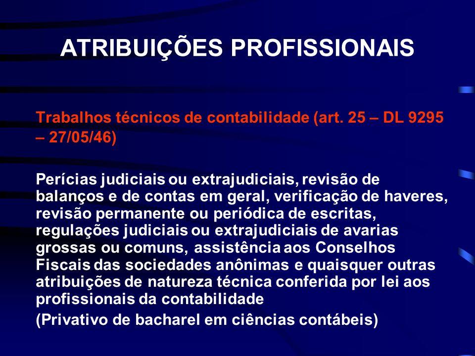ATRIBUIÇÕES PROFISSIONAIS Trabalhos técnicos de contabilidade (art. 25 – DL 9295 – 27/05/46) Perícias judiciais ou extrajudiciais, revisão de balanços