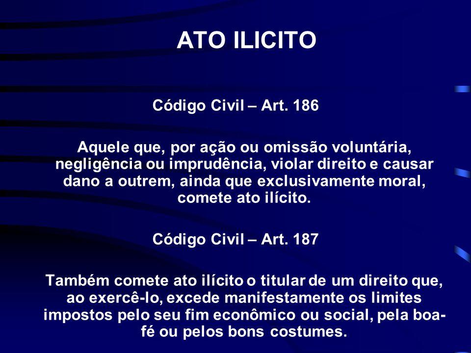 ATO ILICITO Código Civil – Art. 186 Aquele que, por ação ou omissão voluntária, negligência ou imprudência, violar direito e causar dano a outrem, ain