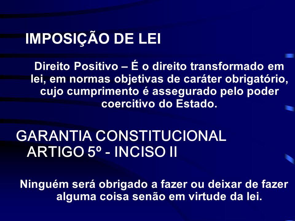 IMPOSIÇÃO DE LEI Direito Positivo – É o direito transformado em lei, em normas objetivas de caráter obrigatório, cujo cumprimento é assegurado pelo poder coercitivo do Estado.