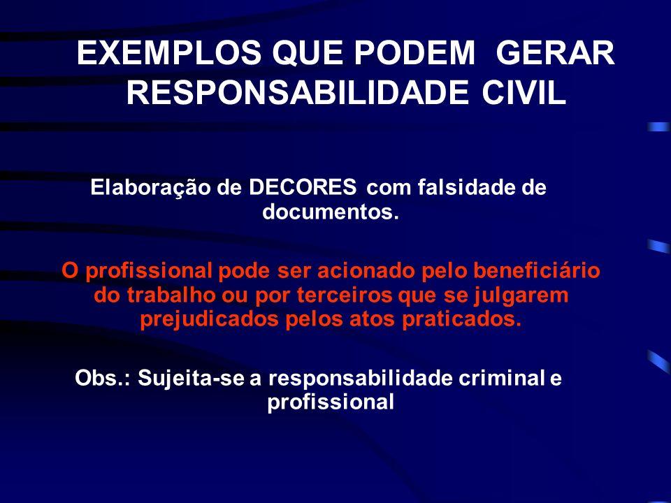 EXEMPLOS QUE PODEM GERAR RESPONSABILIDADE CIVIL Elaboração de DECORES com falsidade de documentos.