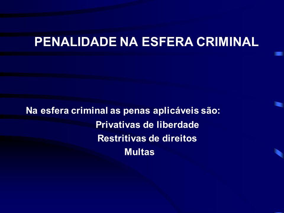 PENALIDADE NA ESFERA CRIMINAL Na esfera criminal as penas aplicáveis são: Privativas de liberdade Restritivas de direitos Multas