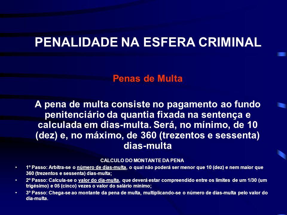 PENALIDADE NA ESFERA CRIMINAL Penas de Multa A pena de multa consiste no pagamento ao fundo penitenciário da quantia fixada na sentença e calculada em