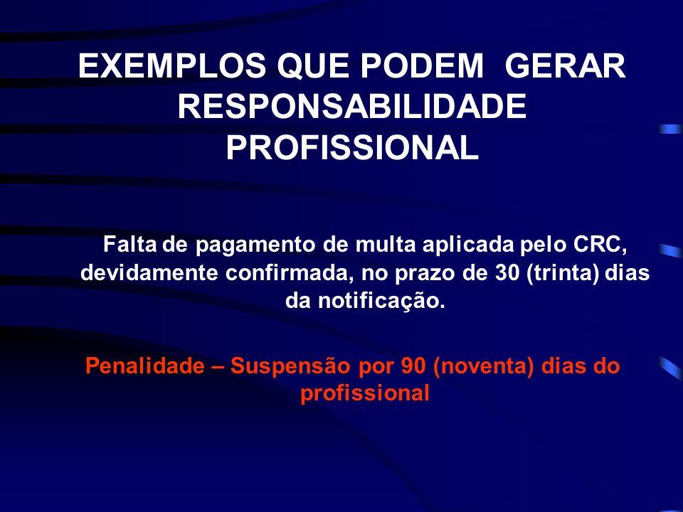 EXEMPLOS QUE PODEM GERAR RESPONSABILIDADE PROFISSIONAL Falta de pagamento de multa aplicada pelo CRC, devidamente confirmada, no prazo de 30 (trinta)