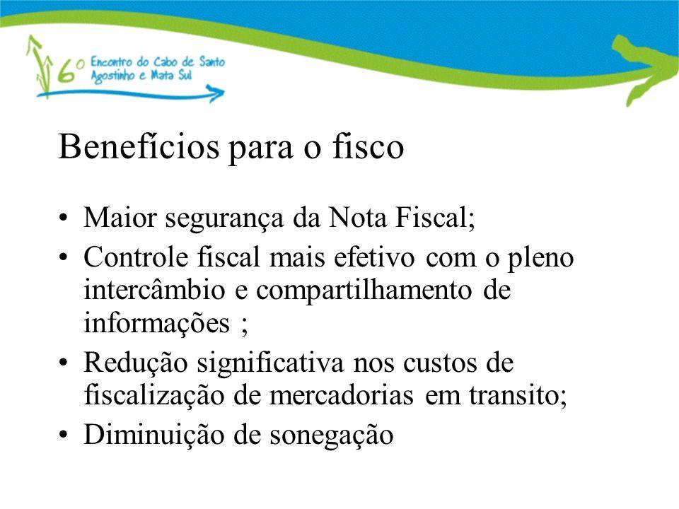 Benefícios para o fisco Maior segurança da Nota Fiscal; Controle fiscal mais efetivo com o pleno intercâmbio e compartilhamento de informações ; Reduç