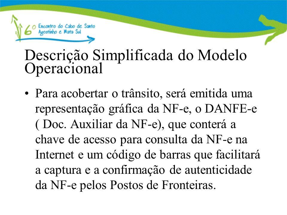 Descrição Simplificada do Modelo Operacional Para acobertar o trânsito, será emitida uma representação gráfica da NF-e, o DANFE-e ( Doc. Auxiliar da N