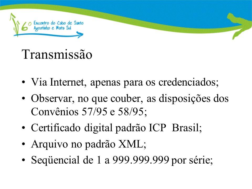 Transmissão Via Internet, apenas para os credenciados; Observar, no que couber, as disposições dos Convênios 57/95 e 58/95; Certificado digital padrão