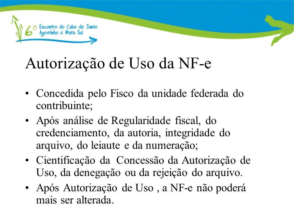 Autorização de Uso da NF-e Concedida pelo Fisco da unidade federada do contribuinte; Após análise de Regularidade fiscal, do credenciamento, da autoria, integridade do arquivo, do leiaute e da numeração; Cientificação da Concessão da Autorização de Uso, da denegação ou da rejeição do arquivo.