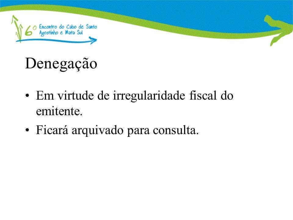 Denegação Em virtude de irregularidade fiscal do emitente. Ficará arquivado para consulta.