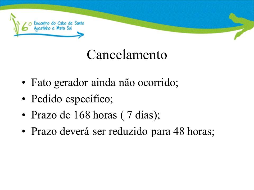 Cancelamento Fato gerador ainda não ocorrido; Pedido específico; Prazo de 168 horas ( 7 dias); Prazo deverá ser reduzido para 48 horas;
