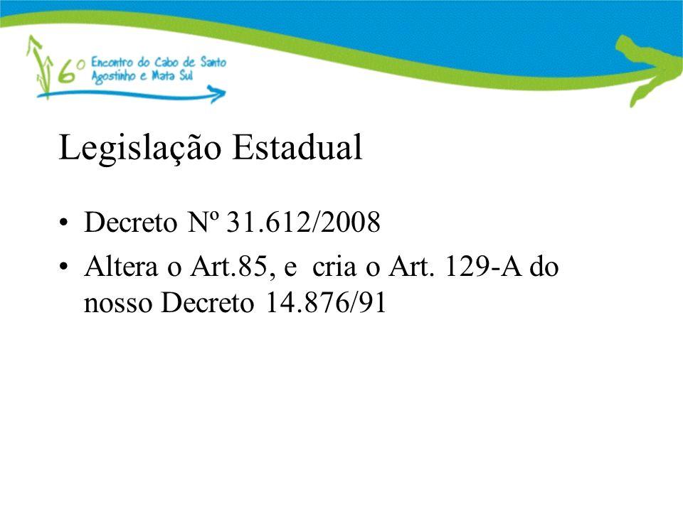 Legislação Estadual Decreto Nº 31.612/2008 Altera o Art.85, e cria o Art. 129-A do nosso Decreto 14.876/91
