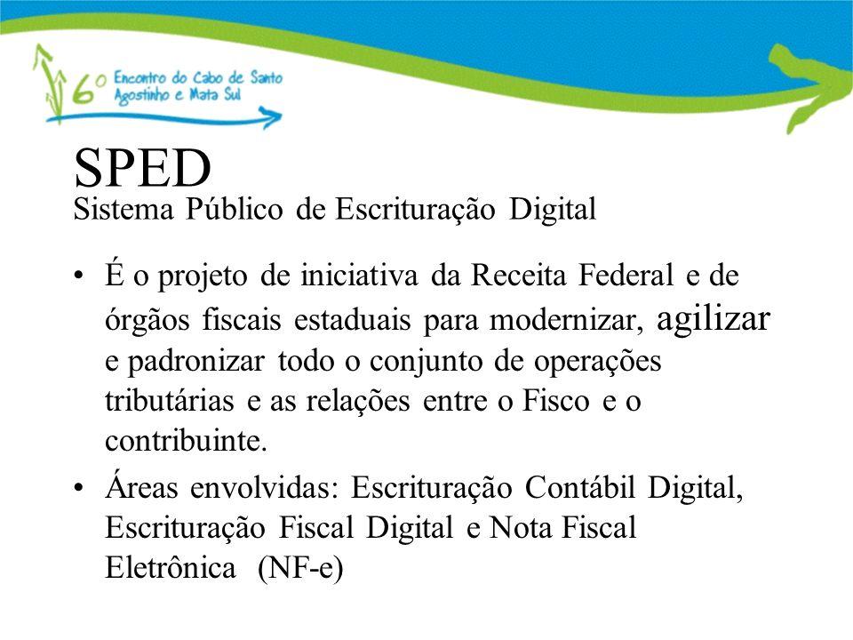 SPED Sistema Público de Escrituração Digital É o projeto de iniciativa da Receita Federal e de órgãos fiscais estaduais para modernizar, agilizar e padronizar todo o conjunto de operações tributárias e as relações entre o Fisco e o contribuinte.