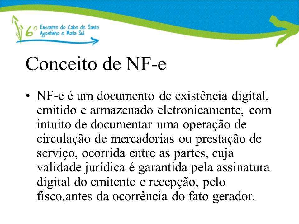 Conceito de NF-e NF-e é um documento de existência digital, emitido e armazenado eletronicamente, com intuito de documentar uma operação de circulação