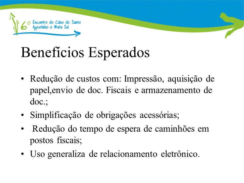 Benefícios Esperados Redução de custos com: Impressão, aquisição de papel,envio de doc. Fiscais e armazenamento de doc.; Simplificação de obrigações a