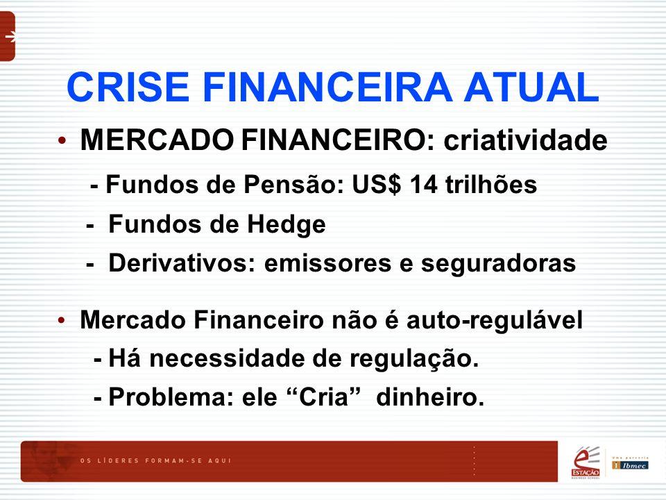 CRISE FINANCEIRA ATUAL MERCADO FINANCEIRO: criatividade - Fundos de Pensão: US$ 14 trilhões - Fundos de Hedge - Derivativos: emissores e seguradoras M