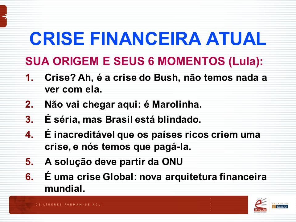 CRISE FINANCEIRA ATUAL SUA ORIGEM E SEUS 6 MOMENTOS (Lula): 1.Crise? Ah, é a crise do Bush, não temos nada a ver com ela. 2.Não vai chegar aqui: é Mar