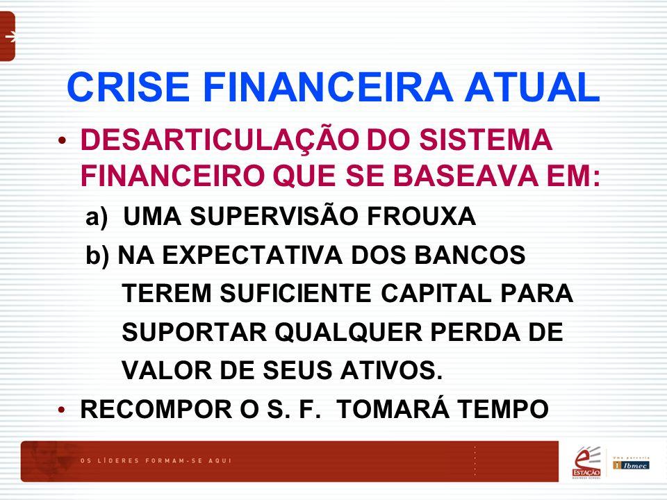 CRISE FINANCEIRA ATUAL DESARTICULAÇÃO DO SISTEMA FINANCEIRO QUE SE BASEAVA EM: a) UMA SUPERVISÃO FROUXA b) NA EXPECTATIVA DOS BANCOS TEREM SUFICIENTE