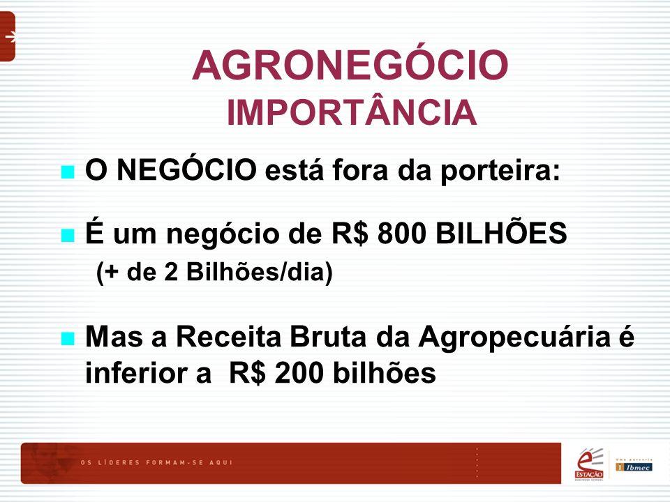 AGRONEGÓCIO IMPORTÂNCIA O NEGÓCIO está fora da porteira: É um negócio de R$ 800 BILHÕES (+ de 2 Bilhões/dia) Mas a Receita Bruta da Agropecuária é inf
