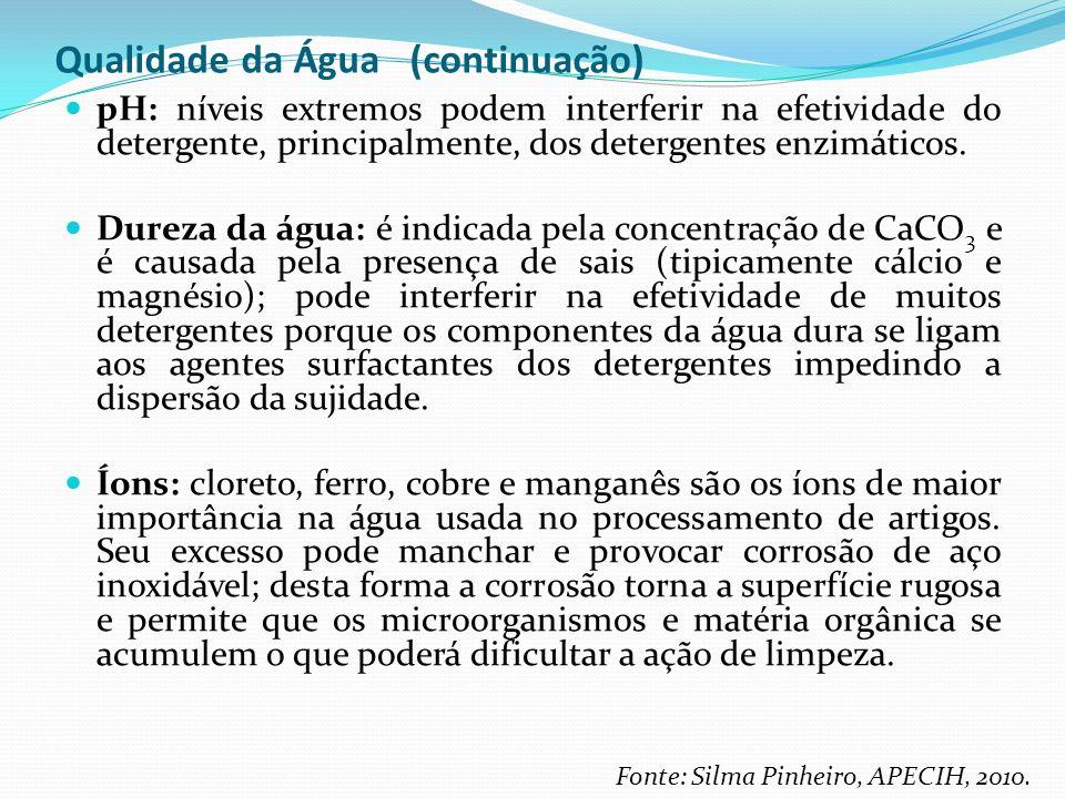 Qualidade da Água (continuação) pH: níveis extremos podem interferir na efetividade do detergente, principalmente, dos detergentes enzimáticos. Dureza