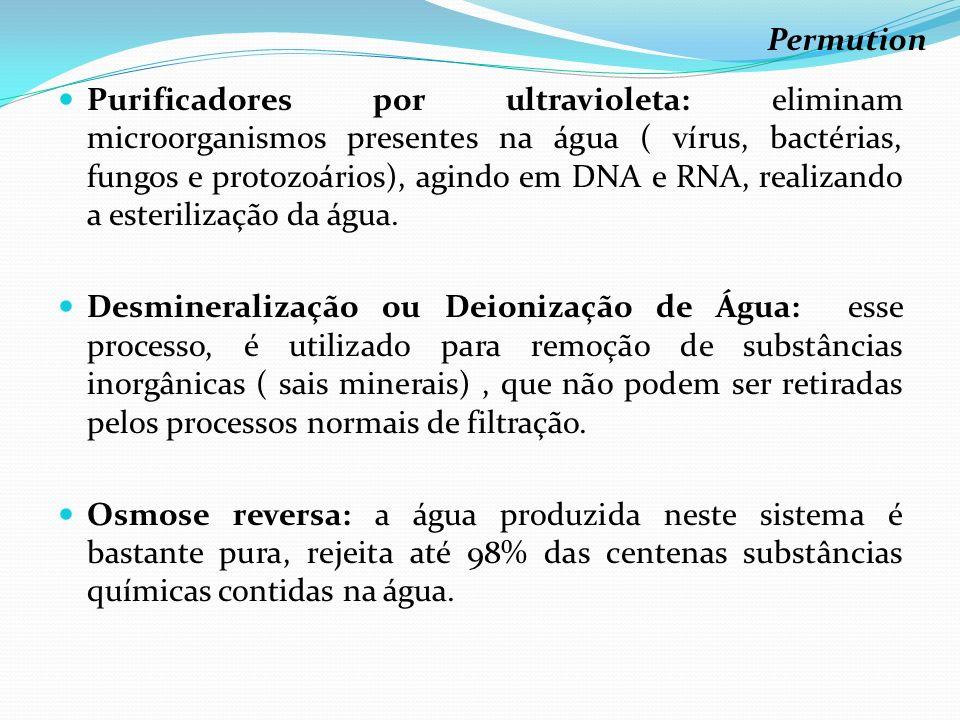 Purificadores por ultravioleta: eliminam microorganismos presentes na água ( vírus, bactérias, fungos e protozoários), agindo em DNA e RNA, realizando