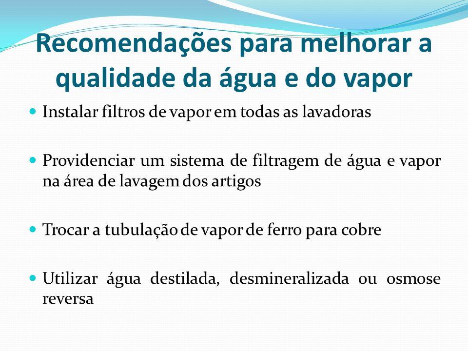 Recomendações para melhorar a qualidade da água e do vapor Instalar filtros de vapor em todas as lavadoras Providenciar um sistema de filtragem de águ
