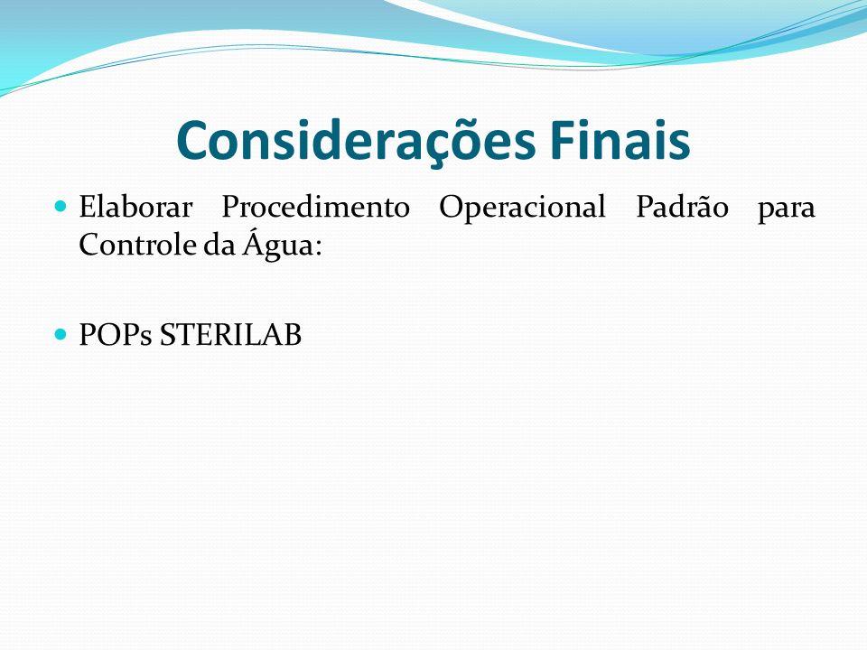 Considerações Finais Elaborar Procedimento Operacional Padrão para Controle da Água: POPs STERILAB