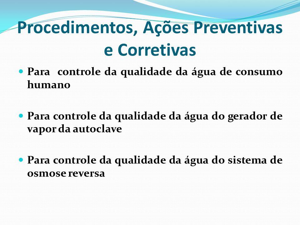 Procedimentos, Ações Preventivas e Corretivas Para controle da qualidade da água de consumo humano Para controle da qualidade da água do gerador de va