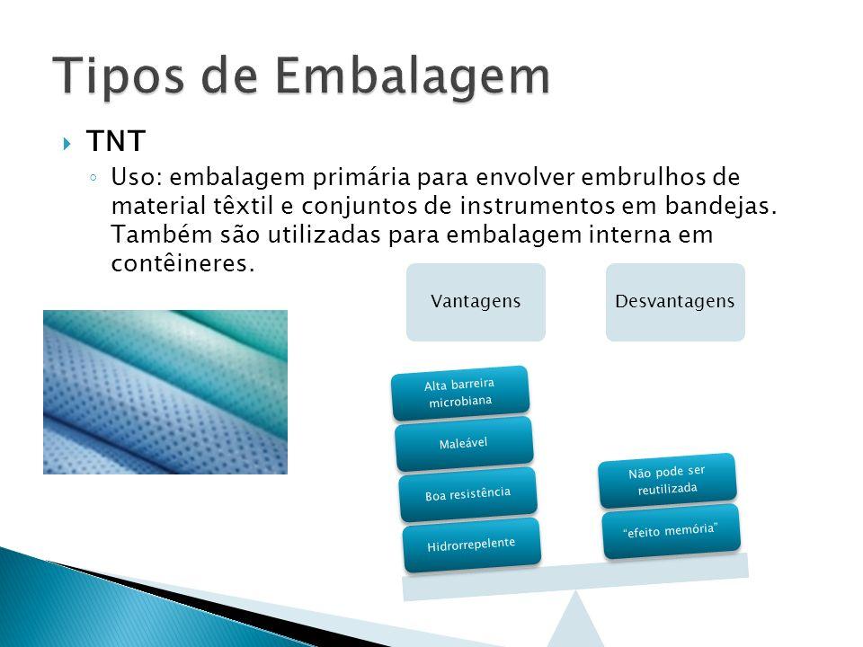 TNT Uso: embalagem primária para envolver embrulhos de material têxtil e conjuntos de instrumentos em bandejas. Também são utilizadas para embalagem i