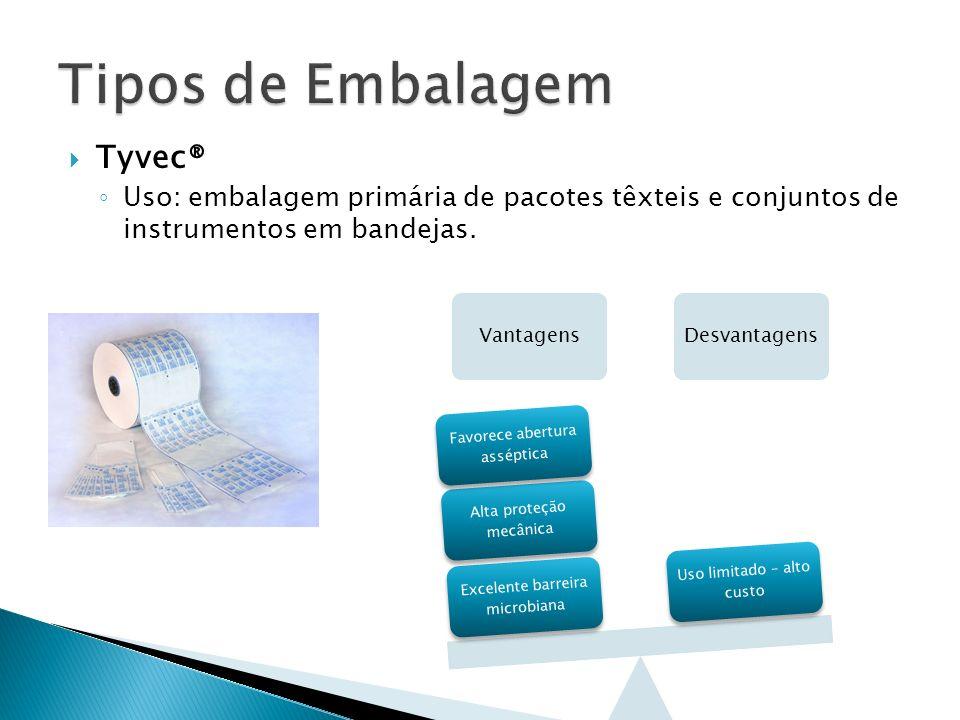 Tyvec® Uso: embalagem primária de pacotes têxteis e conjuntos de instrumentos em bandejas. VantagensDesvantagens Excelente barreira microbiana Alta pr