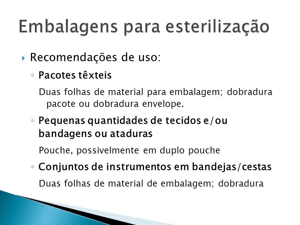 Recomendações de uso: Pacotes têxteis Duas folhas de material para embalagem; dobradura pacote ou dobradura envelope. Pequenas quantidades de tecidos