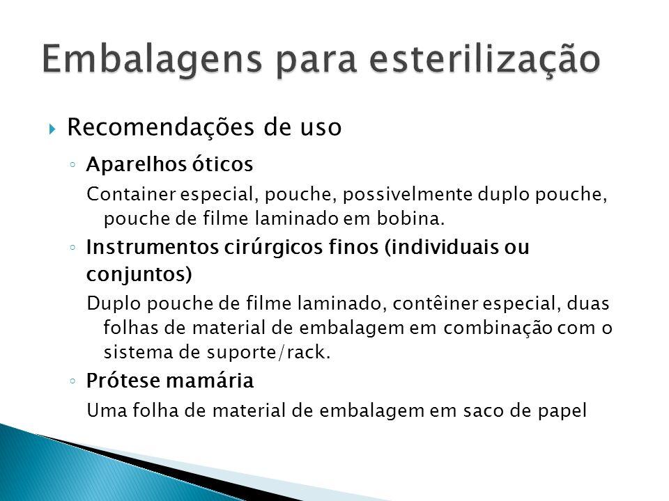 Recomendações de uso Aparelhos óticos Container especial, pouche, possivelmente duplo pouche, pouche de filme laminado em bobina. Instrumentos cirúrgi