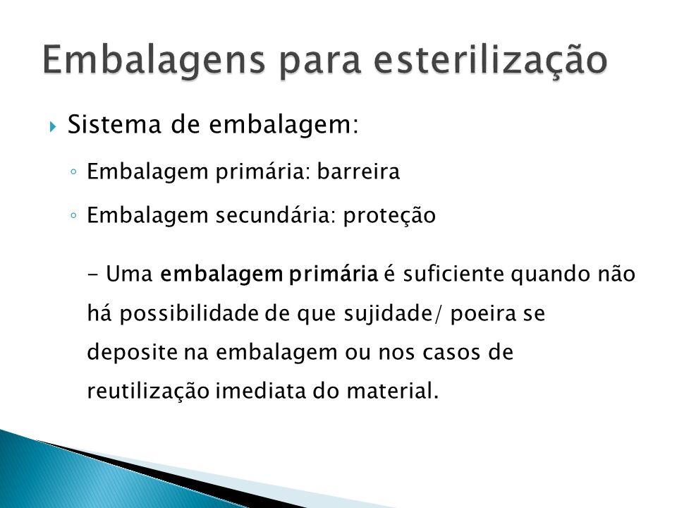 Sistema de embalagem: Embalagem primária: barreira Embalagem secundária: proteção - Uma embalagem primária é suficiente quando não há possibilidade de