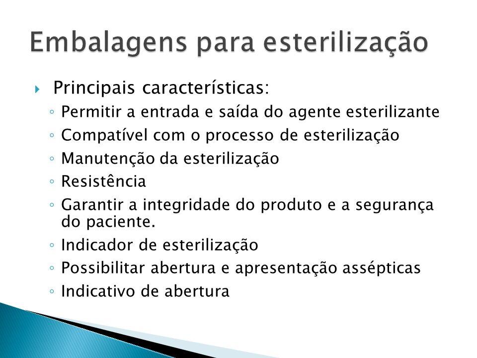 Principais características: Permitir a entrada e saída do agente esterilizante Compatível com o processo de esterilização Manutenção da esterilização