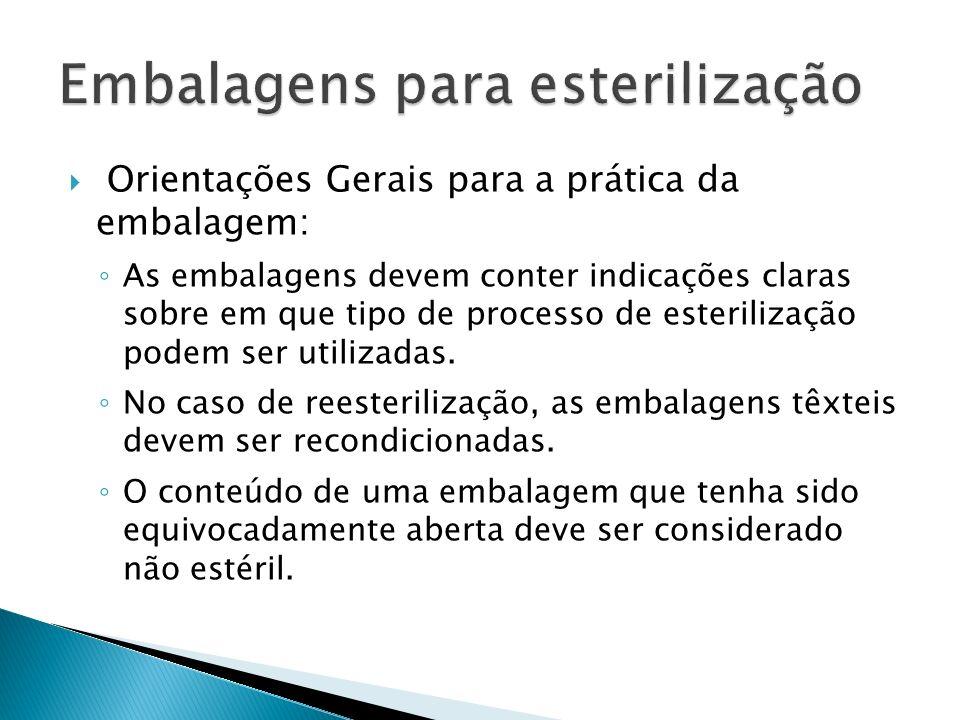 Orientações Gerais para a prática da embalagem: As embalagens devem conter indicações claras sobre em que tipo de processo de esterilização podem ser