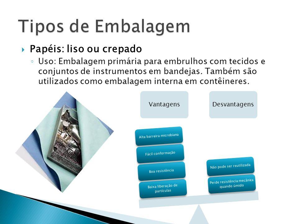 Papéis: liso ou crepado Uso: Embalagem primária para embrulhos com tecidos e conjuntos de instrumentos em bandejas. Também são utilizados como embalag
