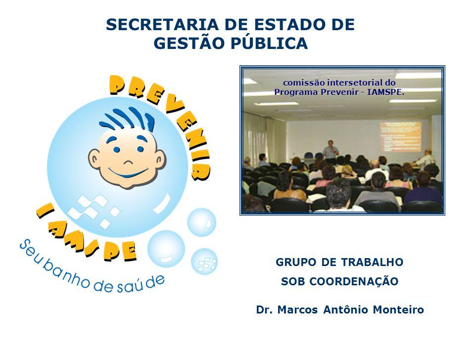 SECRETARIA DE ESTADO DE GESTÃO PÚBLICA comissão intersetorial do Programa Prevenir - IAMSPE. GRUPO DE TRABALHO SOB COORDENAÇÃO Dr. Marcos Antônio Mont