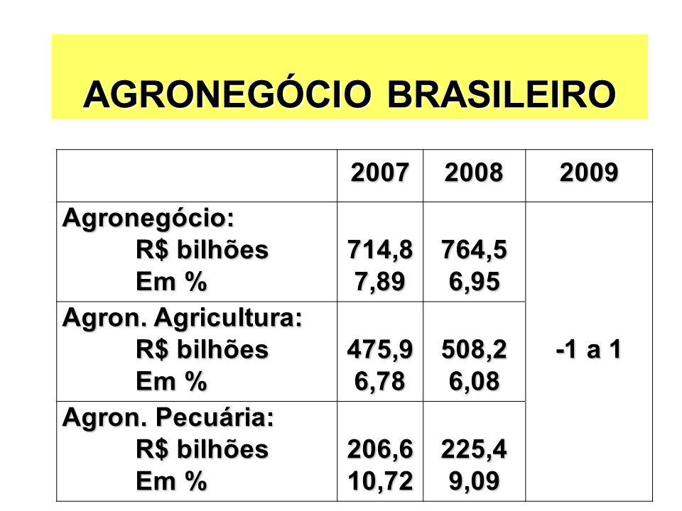 AGRONEGÓCIO BRASILEIRO 200720082009 Agronegócio: R$ bilhões R$ bilhões Em % Em %714,87,89764,56,95 Agron. Agricultura: R$ bilhões R$ bilhões Em % Em %