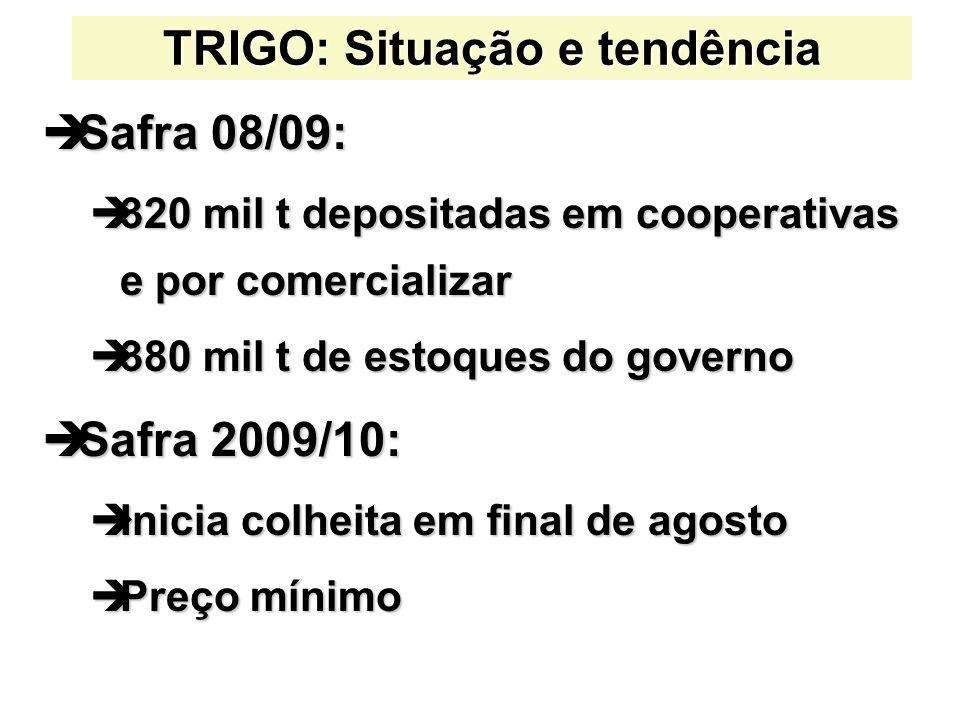 TRIGO: Situação e tendência Safra 08/09: Safra 08/09: 320 mil t depositadas em cooperativas e por comercializar 320 mil t depositadas em cooperativas
