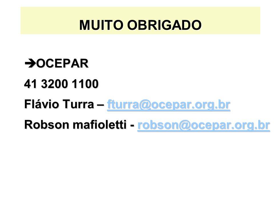 MUITO OBRIGADO è OCEPAR 41 3200 1100 Flávio Turra – fturra@ocepar.org.br fturra@ocepar.org.br Robson mafioletti - robson@ocepar.org.br robson@ocepar.org.br
