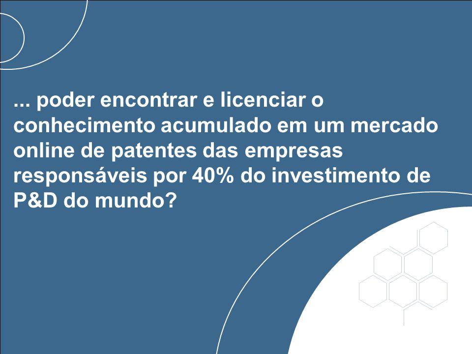 ... poder encontrar e licenciar o conhecimento acumulado em um mercado online de patentes das empresas responsáveis por 40% do investimento de P&D do