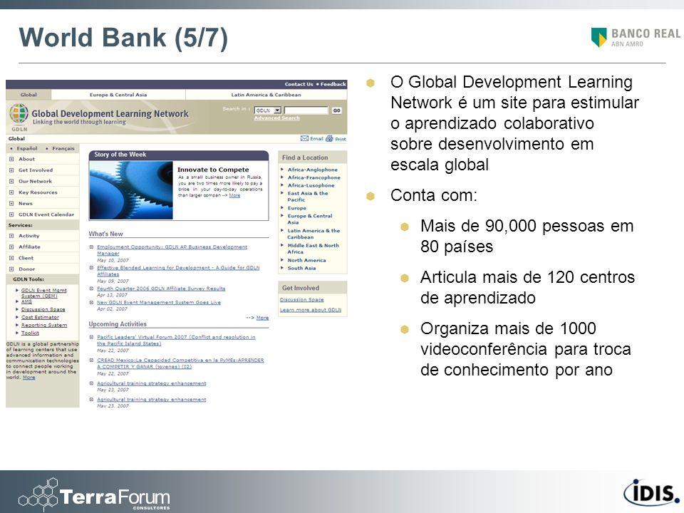 World Bank (5/7) O Global Development Learning Network é um site para estimular o aprendizado colaborativo sobre desenvolvimento em escala global Cont