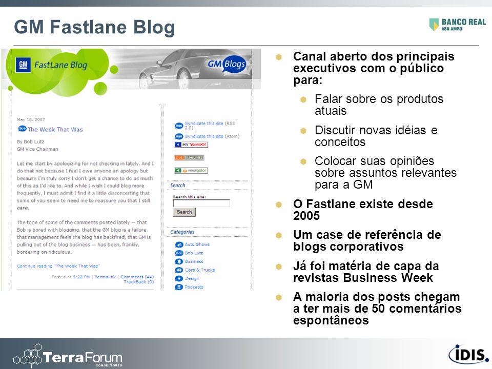 GM Fastlane Blog Canal aberto dos principais executivos com o público para: Falar sobre os produtos atuais Discutir novas idéias e conceitos Colocar s
