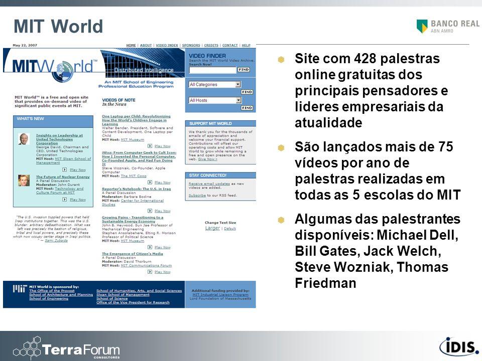 MIT World Site com 428 palestras online gratuitas dos principais pensadores e lideres empresariais da atualidade São lançados mais de 75 vídeos por an