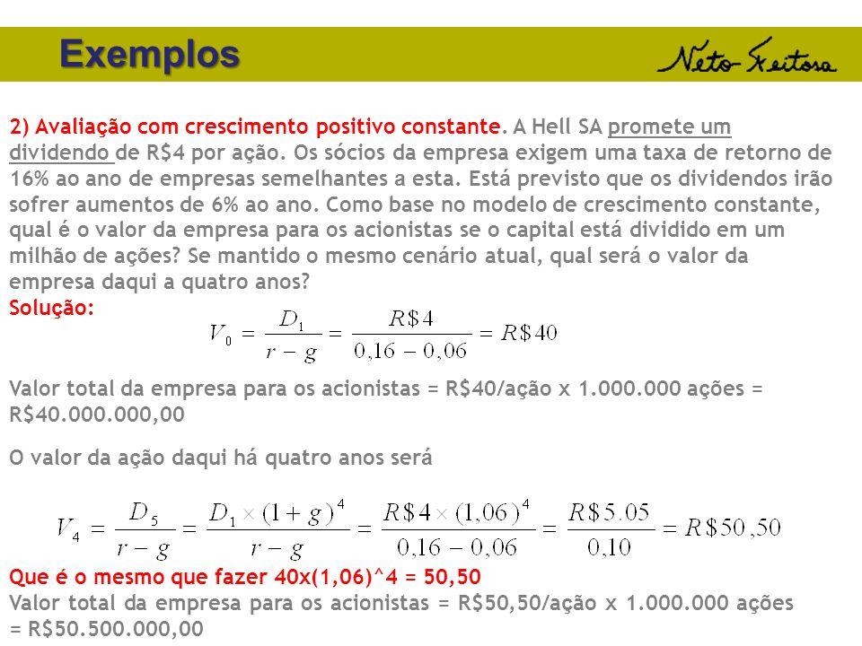 Exemplos 2) Avalia ç ão com crescimento positivo constante. A Hell SA promete um dividendo de R$4 por a ç ão. Os s ó cios da empresa exigem uma taxa d