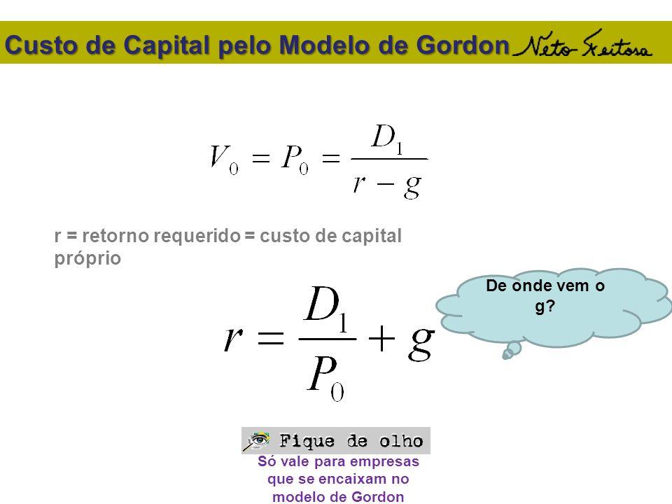 Custo de Capital pelo Modelo de Gordon r = retorno requerido = custo de capital próprio Só vale para empresas que se encaixam no modelo de Gordon De o