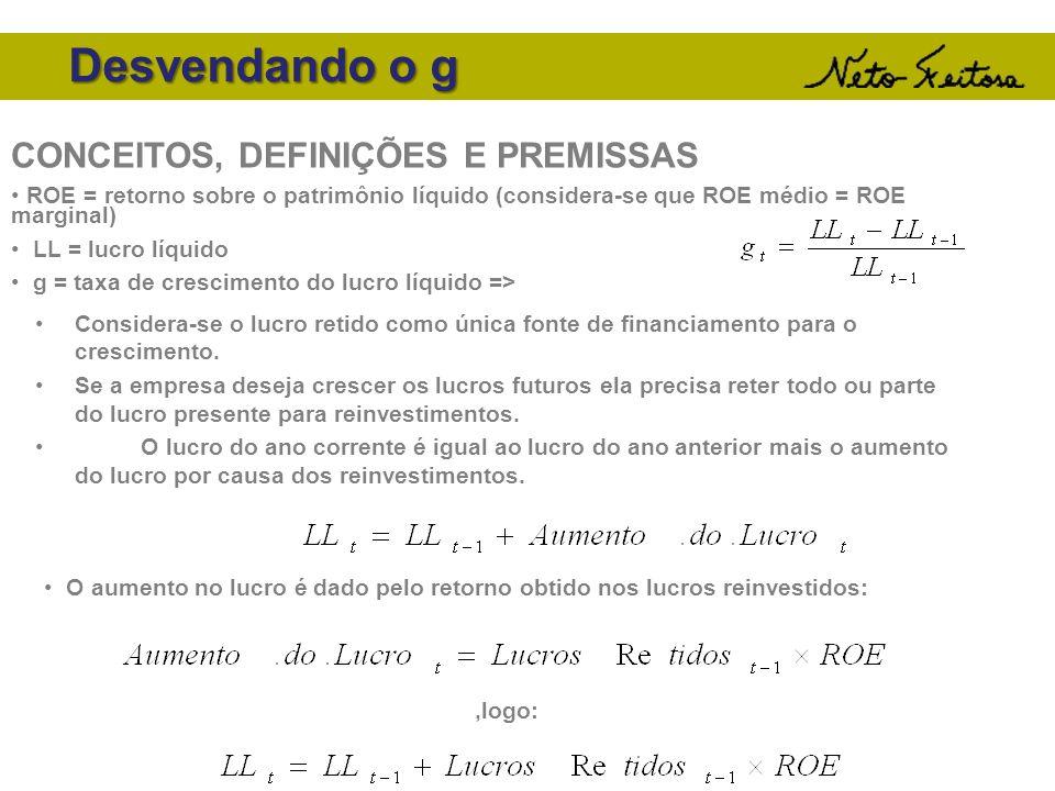 Desvendando o g CONCEITOS, DEFINIÇÕES E PREMISSAS ROE = retorno sobre o patrimônio líquido (considera-se que ROE médio = ROE marginal) LL = lucro líqu
